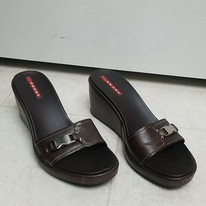 PRADA brown leather wedge sandal